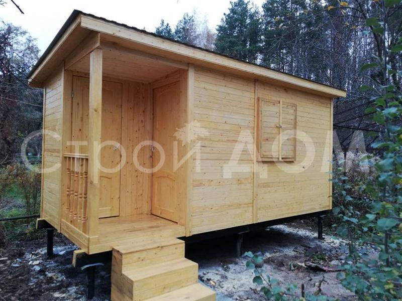 Бытовка 5 метров с крыльцом для дачи в Клину, Солнечногорске и Конаково.