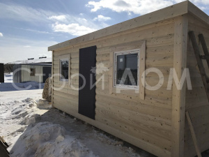 Отделка блок-хаус в бытовке для дачи в Московской области. Производитель бытовок в Клину.