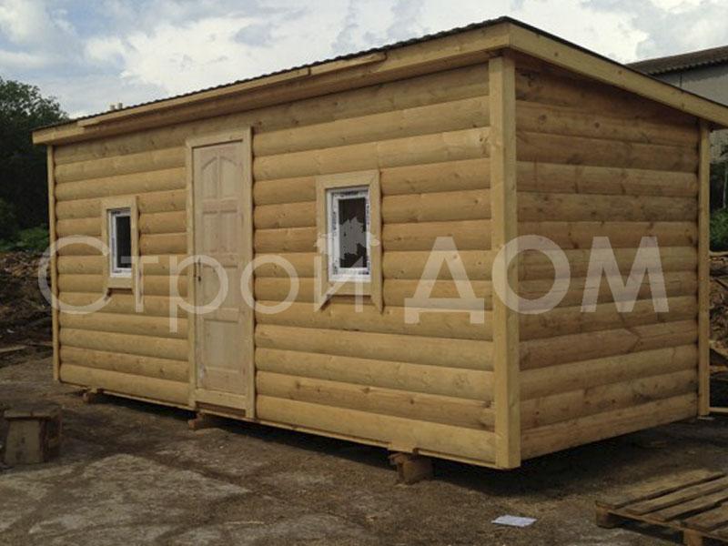 Бытовка с отделкой блок-хаусом для дачи в Московской области от производителя в Клину.