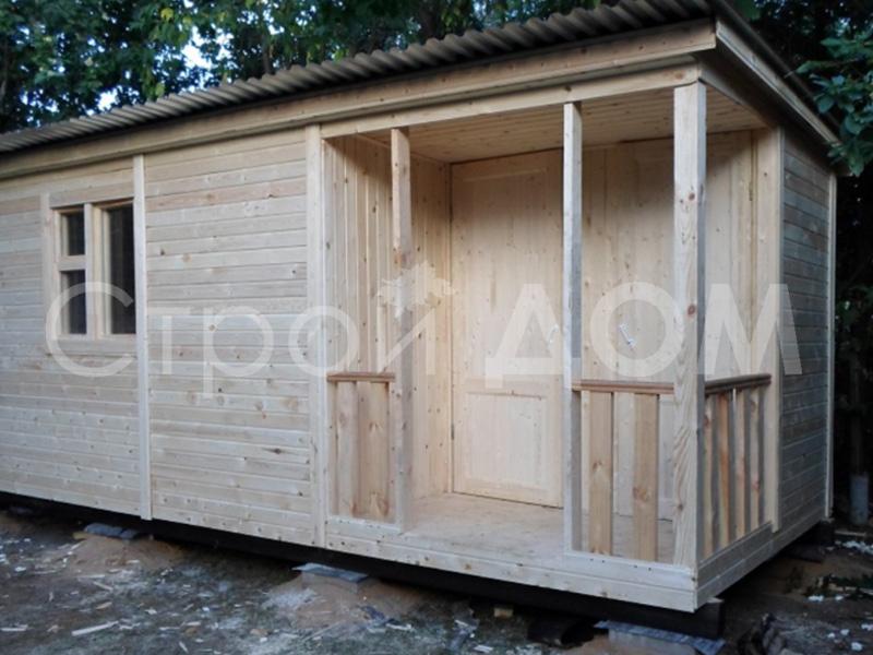 Бытовка 5 метров с верандой, душем и туалетом. Производство в Конаково, Солнечногорске, Клину.