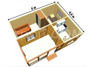 """Схема внутренних комнат садового домика """"ПРОТЕКТ"""". Строительство в Клину недорого."""