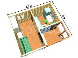 """""""КЕНТУКИ""""-схема расположения внутренних помещений в садовом домике. Строительство в Клину."""