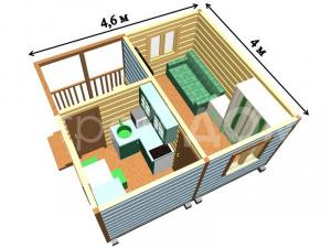 """Разработка планировки. Садовый домик """"КЕНТУКИ"""" в Клину по низкой цене. Строители Клин."""