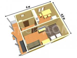 """План-схема комнат садового домика """"МИНИДОМ"""" по низкой цене в Клину."""