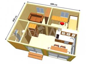 """Схематичное расположение комнат в садовом домике """"ОЛИВИЯ"""". Каркасное строительство в Клинском районе."""