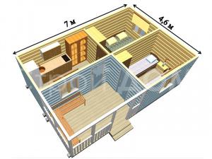"""Схема садового домика """"УСАДЬБА"""" с утеплением от Строительной Компании по низкой цене в Клину."""