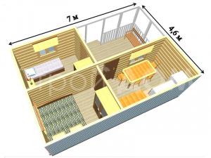 """План-схема """"УСАДЬБА"""" домика садового для дачи. Купить бытовка Клин."""