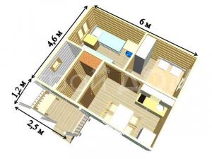 """Схема домика """"ВУТЕРВИЛЬ"""" с улучшенной планировкой комнат. Купить недорого в Клину."""