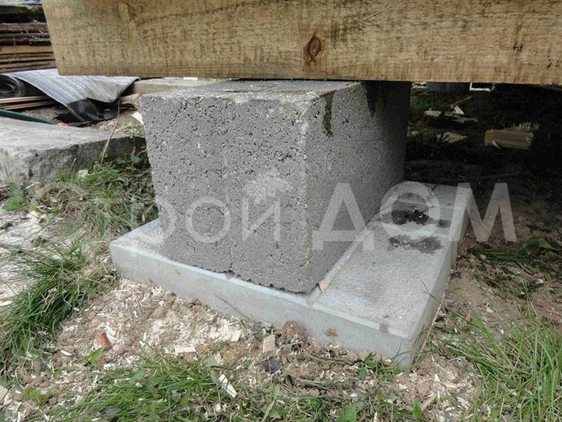 Фундамент блочный на плитках. Бытовка Клин от производителя.