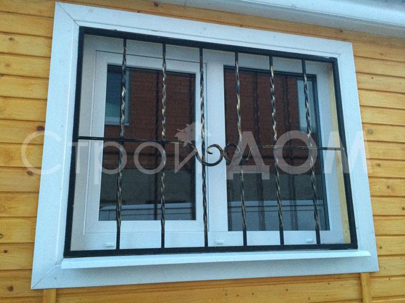 Решётка на окна металлическая для бытовки на двче в Клину.