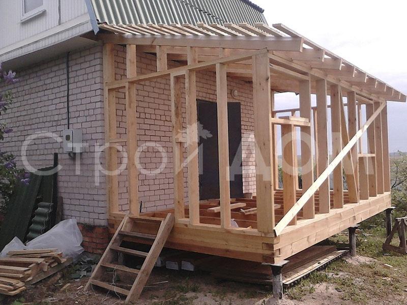 Пристройка веранда к бытовке. Строительство недорого в Клину.