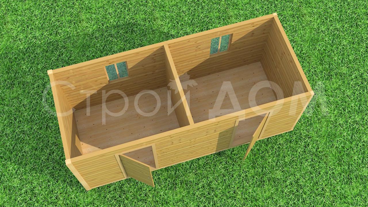 Двухкомнатная деревянная бытовка для дачи от производителя в Клину.