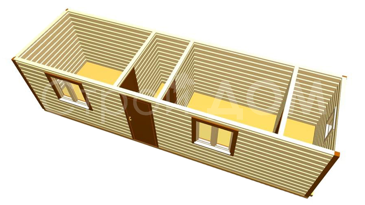 Бытовка и хозблок с туалетом в одной конструкции. Планировка любой сложности.