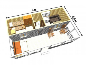 """Схематичная планировка садового домика """"ГАРДАРИКА"""" от производителя бытовок в Клину."""