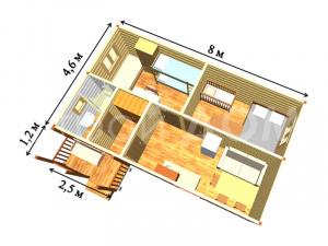 """Расположение комнат в домике """"ГРАНДХАУС"""". Планировка, смета и низкая цена на строительство в Клину."""