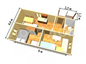 Схематичная планировка садовых домиков от строительной компании. Купить бытовка Клин.