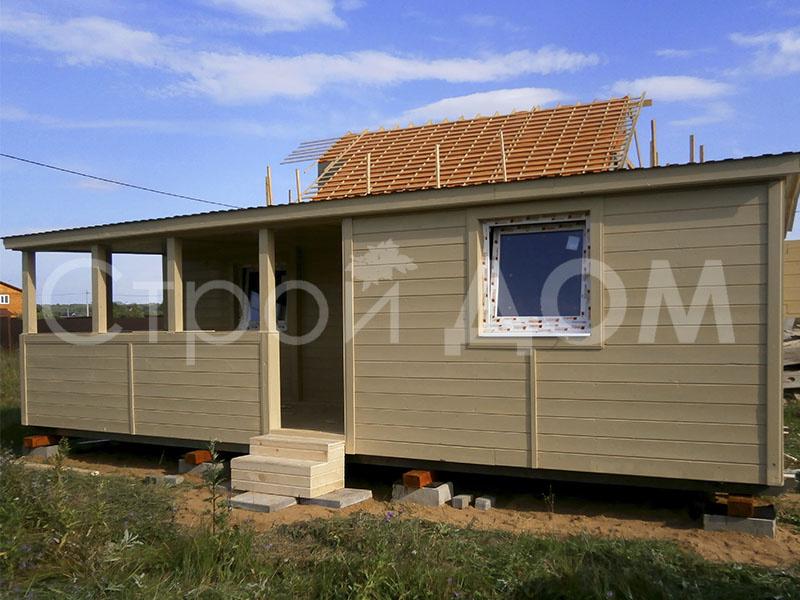"""Крашенный домик """"РАЗДОЛЬЕ"""" для дачи на участках Подмосковья от строительной компании в Клину."""