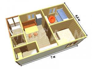 """Планировка домика """"ВАЛДАЙ"""" с утеплением и покрасом недорого. Строительная компания Клин."""
