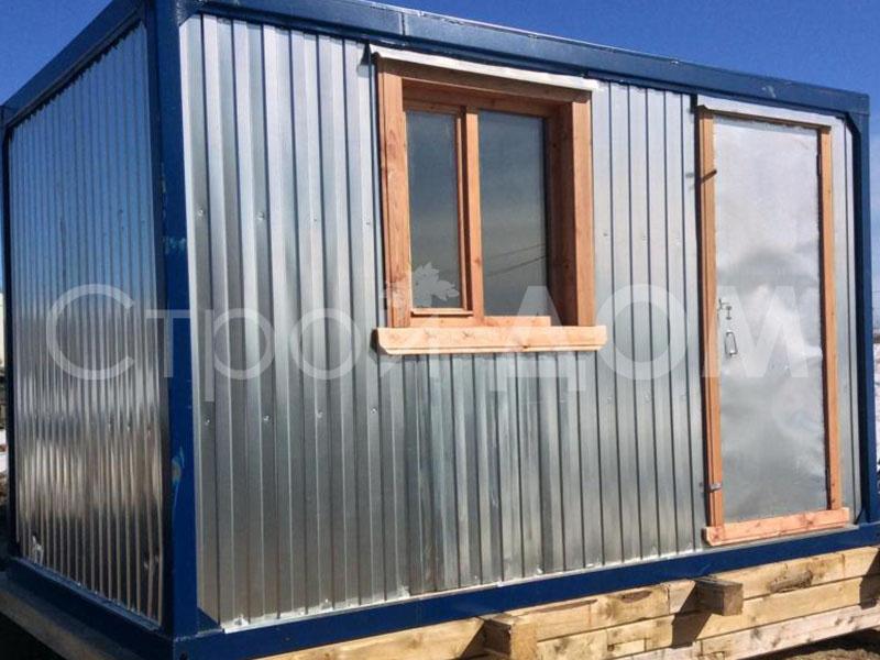 Железный блок-контейнер бытовка 4 метра длиной по низкой цене. Строительство в Клину, Солнечногорске, Конаково.